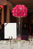 Wedding breakfast table setting with blank copy space on menu fo