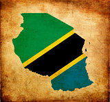 Map outline of Tanzania with flag grunge paper effect