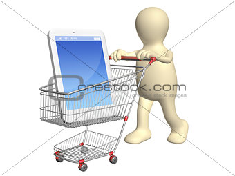 3d puppet with shopping cart and smartphone