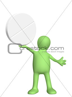 3d puppet with pill