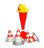 Exclamation mark, road cones and hat