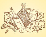 Wine Themed Drawing