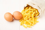 Pasta in a sack and two eggs