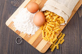 Flour eggs and pasta