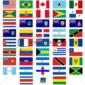 Flags of the countries of America