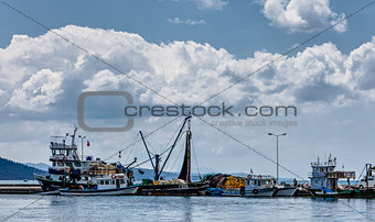 Small fishing boats in Akyaka harbor, Turkey