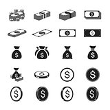 Money and coin icon set with white background