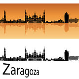 Zaragoza skyline in orange background
