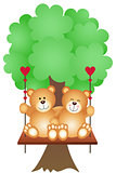 Couple Teddy Bears Swing on a Tree