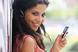 woman in headphones listen to music tu