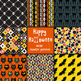 Collection of seamless patterns for Halloween design.