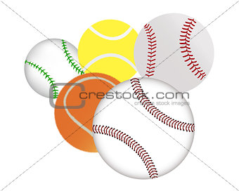 tennis and baseballs
