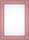 Vertical vector frame - cross stitch Ukrainian ornament