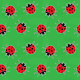 Seamless background - ladybugs on green