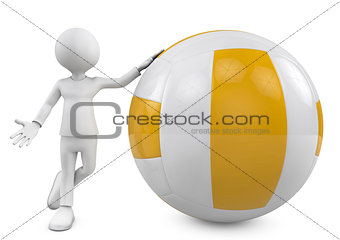 3d people. person with a volleyball ball