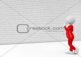 3d man standing in front of blank wall