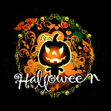 halloween card with pumpkin monster
