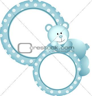 Baby boy round frame teddy bear