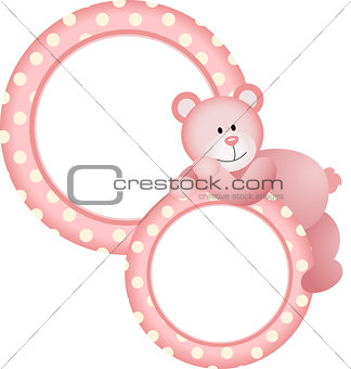 Baby girl round frame teddy bear