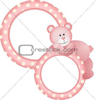 Baby girl round frame teddy bear