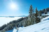 Cloudy winter mountain landscape