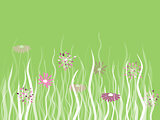 Vector grass with flowers on green