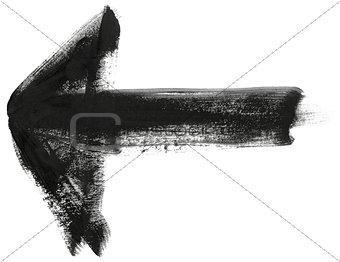 Black hand painted brush stroke arrow