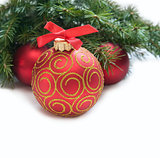 Christmas red ball and wig of fir
