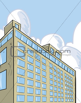 Skyscraper building with sky behind.