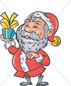 Cartoon Santa with a christmas gift