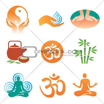 Massage  yoga  spa icons