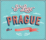 Vintage greeting card from Prague - Czech Republic.