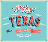 Vintage greeting card from Texas - USA.