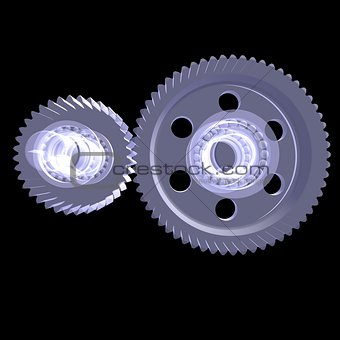 White shafts, gears and bearings