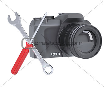 SLR camera, a screwdriver and a wrench