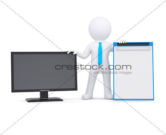 3d man and the monitor