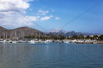 Many yachts lying at dock, Majorca, Spain