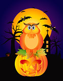 Halloween Owl Pumpkin and Bats Illustration