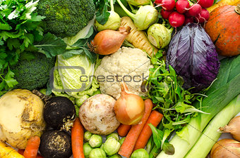 Top view of vegetables