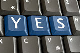 YES written on computer keyboard