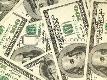 Money background from hundred bucks banknotes