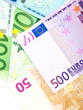 Money background from euro banknotes