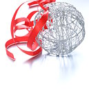 silver Christmas ball (decoration) with a red ribbon