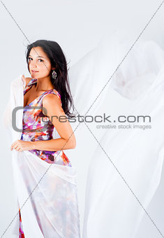beautiful girl with white scarf