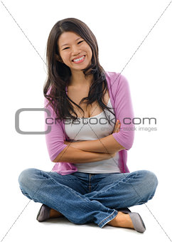 Portrait of cheerful Asian woman