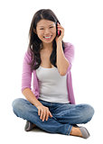 Asian woman talking on smart phone