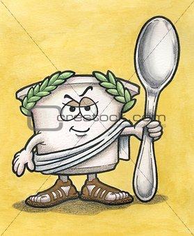 Greek Yogurt Man with Spoon
