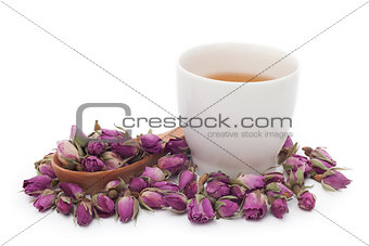 A cup of rose tea