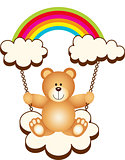 Teddy Bear in Swing Cloud Rainbow