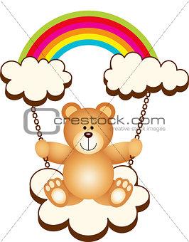 Teddy Bear in Swing Cloud Rainbow